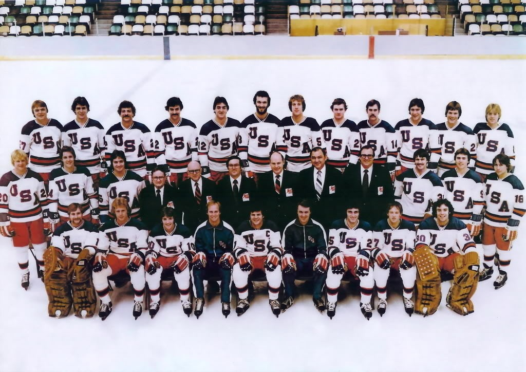 The 1980 U.S. Olympic hockey team that won the gold medal. Herb Brooks in on the front row (in sweat suit, on right), and Ken Morrow is on the back row (center, with beard).